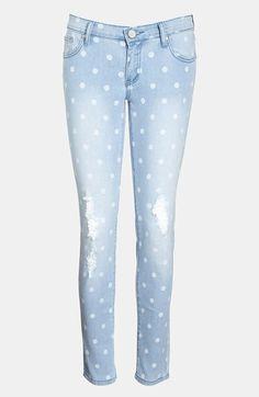 polka dot skinny jeans...