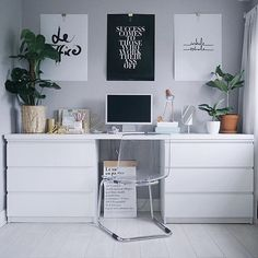 IKEA hack ideas + regram from @olivianicolesilk in the UK 🌿🖥🌱 This is the home office of #workspacegoals favourite Olivia in the UK 🇬🇧 She just updated her space with some new goodies...including the giant monstera on the left 🌿😍 A true IKEA hack success story 👏👏 plus we love the @sealoeshop prints too 💛💛💛 Thanks Olivia for the tag + for thinking of us 🙏😘