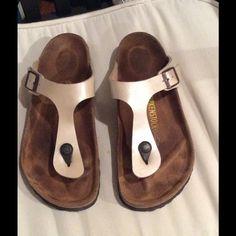 Birkenstock flip-flops in pearl color, size 7 1/2 Barely used Birkenstock birko-flor sandals in a beautiful pearl color. Birkenstock Shoes Sandals