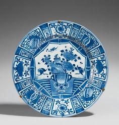 A Large Japanese Blue and White 'Kraak' Style Porcelain Charger, Arita, Edo…