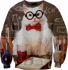 Chemistry Cat Sweater Crewneck Sweatshirt by YeahWhateverz on Etsy, $59.87