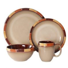 WhitePeony Mosaic Orange Stoneware 16-Piece Reactive Dinnerware Set, Service for 4
