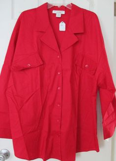 New Red Blouse 2X Plus Size Lew Magram Collection Shirt Top NWT