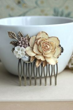 Antiqued Gold Ivory Rose Collage Flower Hair Piece. Vintage Rustic Ivory Gold Wedding.