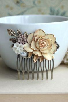 Antiqued Gold Ivory Rose Collage Flower Hair Piece. Vintage Rustic Ivory Gold Wedding.