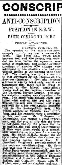 """WWI, 29 Sept 1916, Daily Herald, Adelaide: """"Anti-conscription campaign in Sydney, enthusiasm intense"""""""