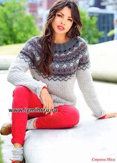 Кашемировый пуловер с круглой жаккардовой кокеткой