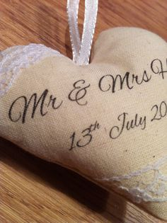 Personalised Calico Hanging Heart perfect for by TheCraftHutch