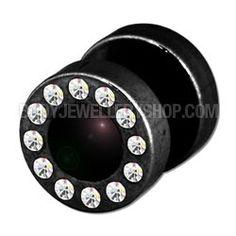 Jewelled Fake Ear Plug - Black