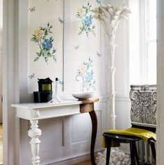 Flowering Hallway Paint Design Ideas with Chair and Table