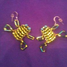 Beaded Frog Earrings  on sterling earwires by AnnPedenJewelry, $13.99