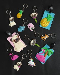 PVC Keyrings and Luggage Tags - Pug, Flamingo, Sloth, Elephant, Tiger, Pineapple and Unicorn
