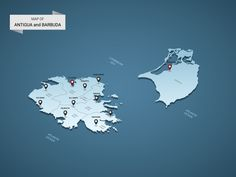 Isometric 3D Antigua and Barbuda map, vector illustration with cities, borders, capital, administrative divisions and pointer marks; gradient blue background. Concept for infographic.