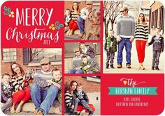 Share a 'Heartwarming Montage' with these #Christmas Cards by Jill Smith for Tiny Prints in bright red.