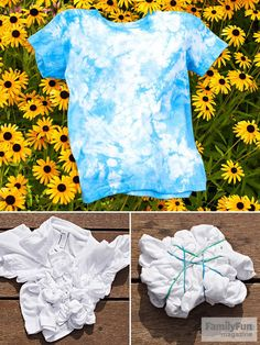Even very young kids can help make this cosmic design. For the best results, use a prewashed and dried 100 percent cotton T-shirt. Gather up some rubber bands and prepare a shirt for the dye. First, wet the shirt and lay it flat. With your fingers, scrunch and wrinkle the fabric, gathering it into a tight disk. Wrap several rubber bands around the disk. The tighter you bind it, the more white there will be in the final sh...