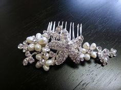 Beach wedding hair comb with freshwater pearls and rhinestone starfish by One World Designs Bridal Jewelry, $85.00