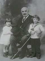 Prince Vsevolod Ivanovich Romanov of Russia (wearing a sailor's suit) with his sister Princess Catherine Ivanovna Romanov and their great grandfather King Nicholas l (Serbia) of Montenegro in 1921.A♥W
