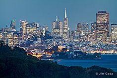 Angel Island, Alcatraz and San Francisco as seen from the town of Tiburon, California.