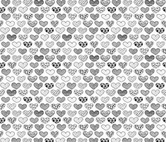 Geometric texture hearts love valentine wedding theme scandinavian style black and white - fabric and wallpaper design by Little Smilemakers Studio at Spoonflower