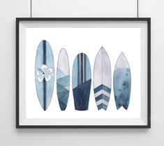 Sealife Series, Blue Surfboards- Art Print Best Picture For Sealife pattern For Your Taste You are looking for something, and it is going to tell you exactly what you are looking for, and you didn't f Surfboard Drawing, Surf Drawing, Surfboard Painting, Surfboard Art, Skateboard Art, Painting & Drawing, Surf Art, Blue Art, Illustration Art