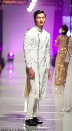 Wedding ao gam or men's ao dai by Jacky Tai at Viet Fashion Week 2016 Traditional Wedding, Traditional Dresses, Ao Dai Men, Vietnamese Men, Fashion Week 2016, Tuxedo Suit, Indian Designer Wear, Bridal Collection, Formal Wear