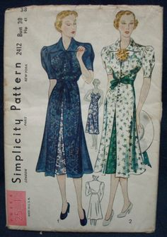 Simplicity 2412, 1930s Dress and Slip Sewing Pattern Ensemble Unused by kinseysue, $68.00