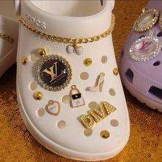 Crocs Slippers, Crocs Shoes, Crocs Fashion, Sneakers Fashion, Cool Crocs, Designer Crocs, Cute Baby Shoes, Bling Shoes, Aesthetic Shoes