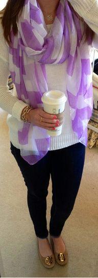 Purple-checkered chiffon scarf, comfy sweater, Tori flats