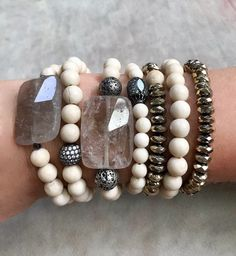 Neutral Bracelet Part Lava, or Smoky Quartz accents with Fossil Jasper, river-stone fossil coral or pyrite beads//sold individually Diy Jewelry, Beaded Jewelry, Handmade Jewelry, Jewelry Making, Geek Jewelry, Gothic Jewelry, Jewelry Necklaces, Gemstone Bracelets, Artisanal