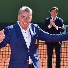 Former Spanish tennis player Manolo Santana honored during the first round of the Davis Cup