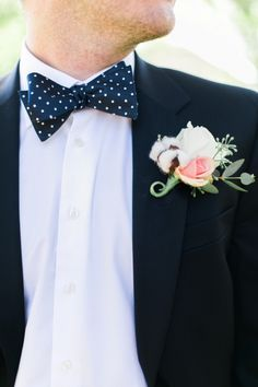 polka dot bow tie and cotton bout | Elisabeth Carol Photography | Glamour & Grace