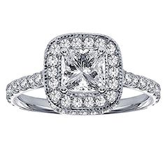 1.75 CT TW Pave Set Diamond Encrusted Princess Cut Engagement Ring in 14k White Gold