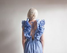 sheep chase lavender origami pleat petal sleeve dress / corset tie dress / ruffle slv cocktail dress / s / 1392d