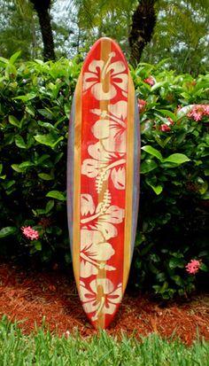 // Red Vintage Surfboard Wall Art Wood Longboard Surf