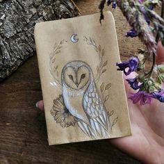 Original #Owl #drawing on craft paper envelope 🌿 I hope you love it 🙂
