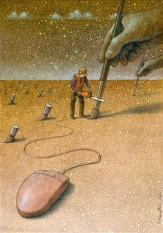 Pawel Kuczynski, a Polish artist has worked in satirical illustration specialising in thought-provoking images that make his audience question their everyday lives.more illustrations in the link. Caricature, Satirical Illustrations, Satirical Cartoons, Cartoon Illustrations, Political Art, Question Everything, Inspiration Art, Wow Art, Canvas Artwork