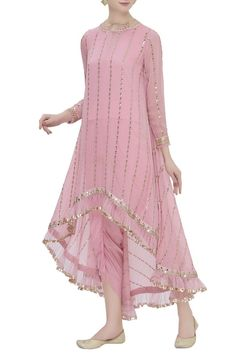 Buy High Low Kurta Dhoti Pant Set by Vvani by Vani Vats at Aza Fashions - Indian designer outfits - Pakistani Formal Dresses, Indian Gowns Dresses, Indian Fashion Dresses, Dress Indian Style, Pakistani Dress Design, Pakistani Gowns, Pakistani Fashion Party Wear, Shadi Dresses, Salwar Designs