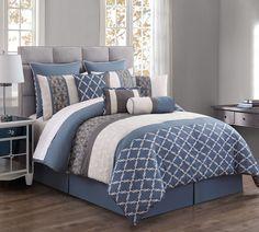 10 Piece Amarta Denim/Charcoal Comforter Set