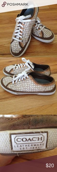 Coach Sneekers Gently worn. Canvas and leather. Genuine Coach. Coach Shoes Sneakers
