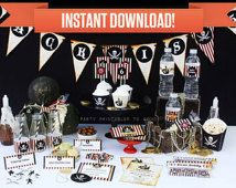 Pirate Birthday Party Printable Collection & Invitation - Editable PDF file - Print at home