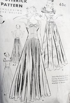 e5d96ea445ad7 1930s EVENING GOWN PATTERN 2 LOVELY NECKLINES and BACKS