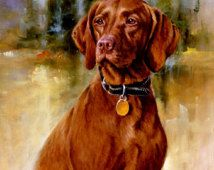 VIZSLA dog  -Killen Artwork on ONE 16 inch Fabric Panel for Quilting and Sewing