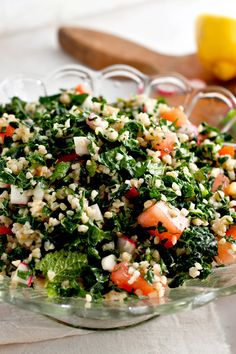 NYT Cooking: Here's the thing about tabbouleh salad: Most of the ones I've had invert my preferred proportion of bulgur to parsley. What you usually get is a bowl of tabbouleh studded with… Bulgur Recipes, Tabbouleh Recipe, Parsley Recipes, Kale Recipes, Cabbage Recipes, Cooking Recipes, Healthy Recipes, Cooking Kale, Cooking Tips