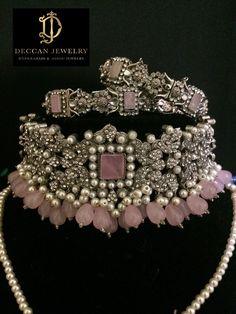Anisa zircon bridal choker set in rose quartz / pink beads , indian jewellery, Pakistani jewellery – Necklace 2020 Indian Jewelry Earrings, Indian Jewelry Sets, Jewelry Design Earrings, Indian Wedding Jewelry, Wedding Jewelry Sets, Gold Jewelry, Wooden Jewelry, Jewelry Box, Wedding Accessories
