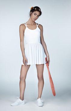 Stylish Feminine White Tennis Dress with inbuilt bra from Ivincia. Tennis Shorts, Tennis Clothes, White Tennis Dress, Tennis Fashion, Floral Prints, Cold Shoulder Dress, Feminine, Glamour, Style Inspiration