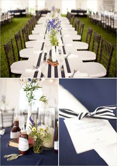 A navy blue and white striped table is set with a matching table number, menus and monogrammed napkins. Description from pinterest.com. I searched for this on bing.com/images