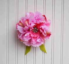 Pink Flower Fabric Brooch Vintage RHINESTONE Pin Hot Pink Peony Wedding Bride