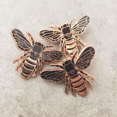 Sold Out! Rose gold honey bee lapel pins Keep posted for a new run of my next pin design.