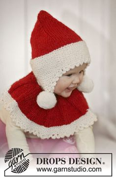 Set of knitted Santa hat and neck warmer for baby and children in 2 threads DROPS Alpaca Baby Knitting Patterns, Free Knitting, Crochet Patterns, Drops Design, Drops Alpaca, Drops Baby, Knit Crochet, Crochet Hats, Wool Applique