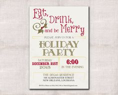 Christmas party invitation Holiday party by DarlinBrandoPress, $15.00
